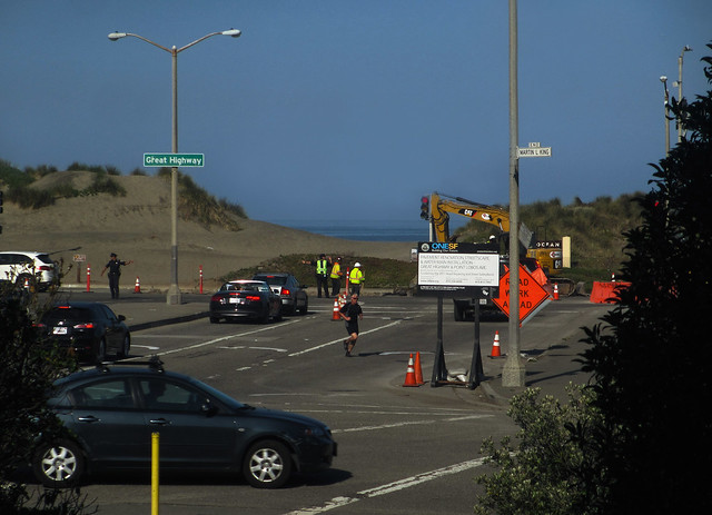 construction at Lincoln and Great Highway; san francisco