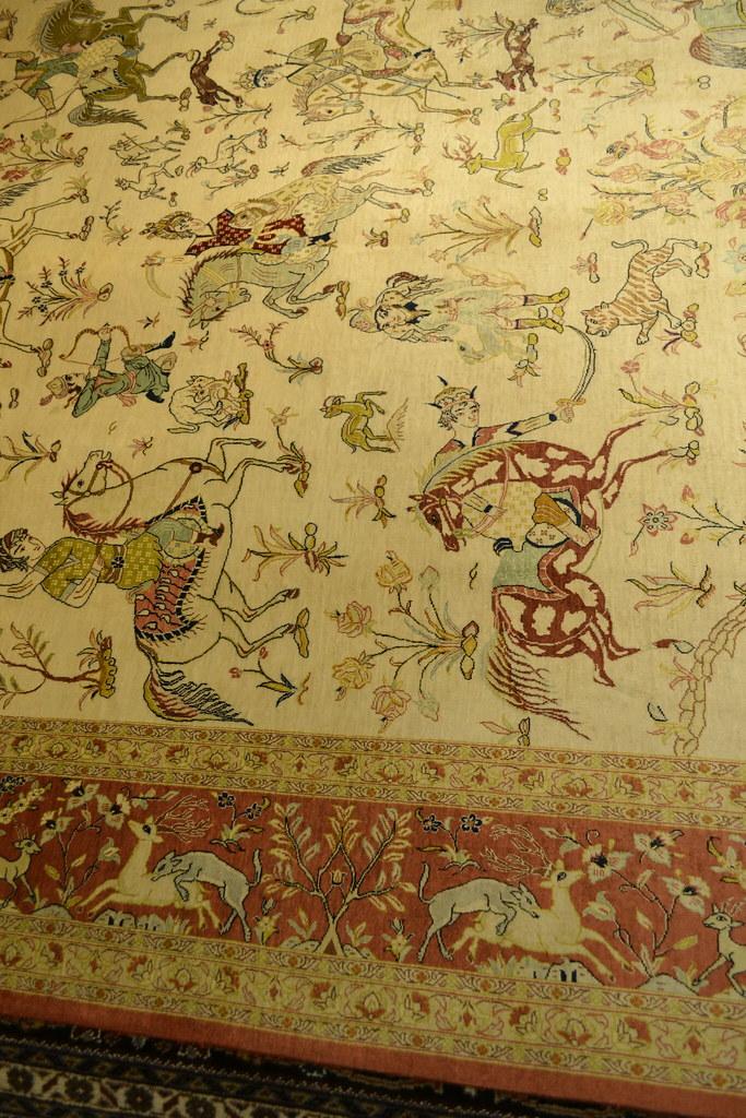 Qum Silk Hunting Scene Persian Rug