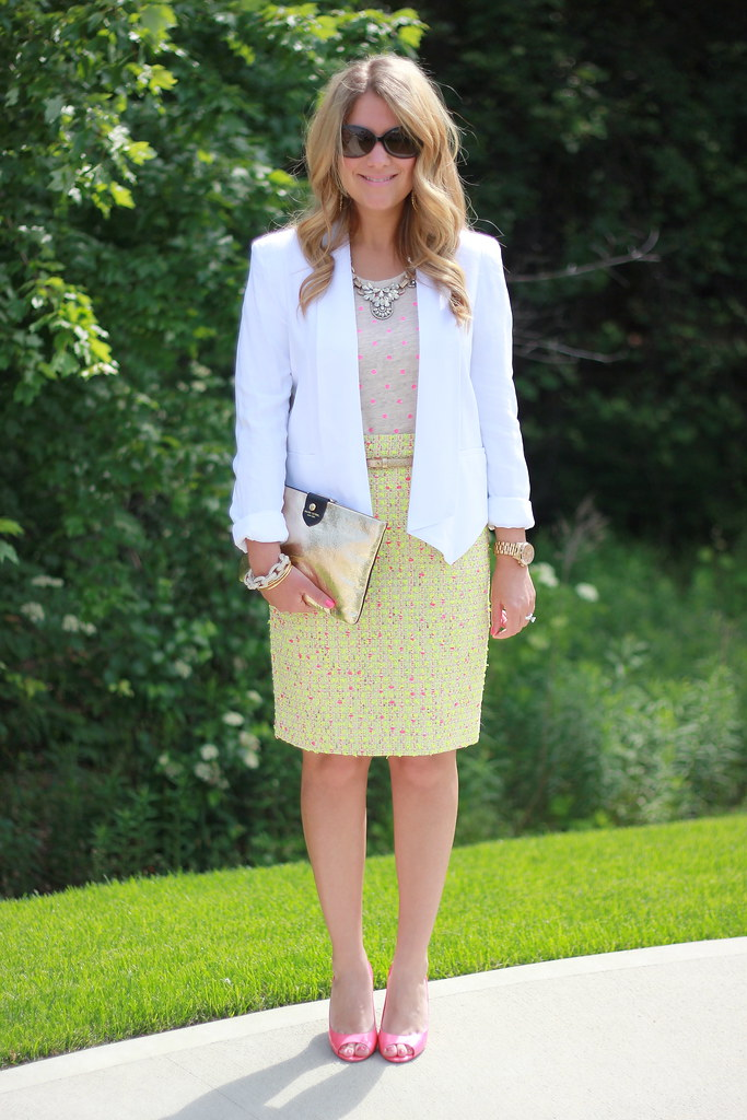 How to Style the J Crew Neon Tweed Pencil Skirt