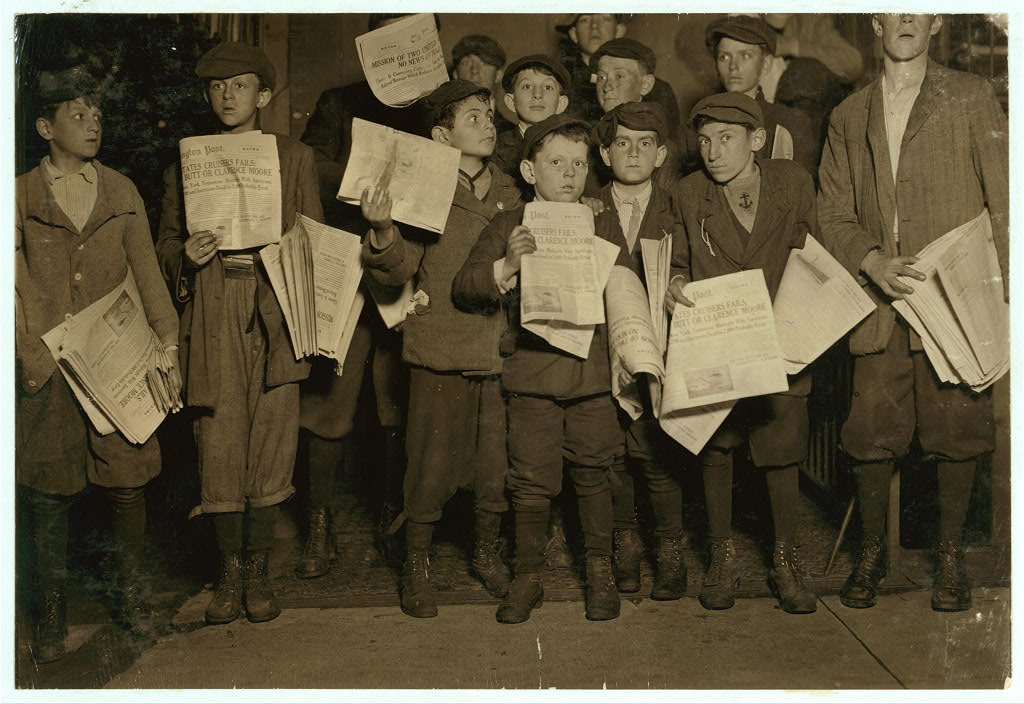 After midnight April 17, 1912, and still selling extras. There were many of these groups of young news-boys selling very late these nights. Youngest boy in the group is Israel Spril (9 yrs. old), 314 I St., N.W., Washington D.C. Harry Shapiro, (11 yrs. old), 95 L St., N.W., Washington, D.C. Eugene Butler, 310 (rear) 13th St., N.W. The rest were a little older., 12th St. near G [or C?] Sundays. Location: Washington (D.C.), District of Columbia.