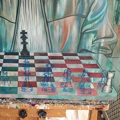 adding the white chess pieces ...