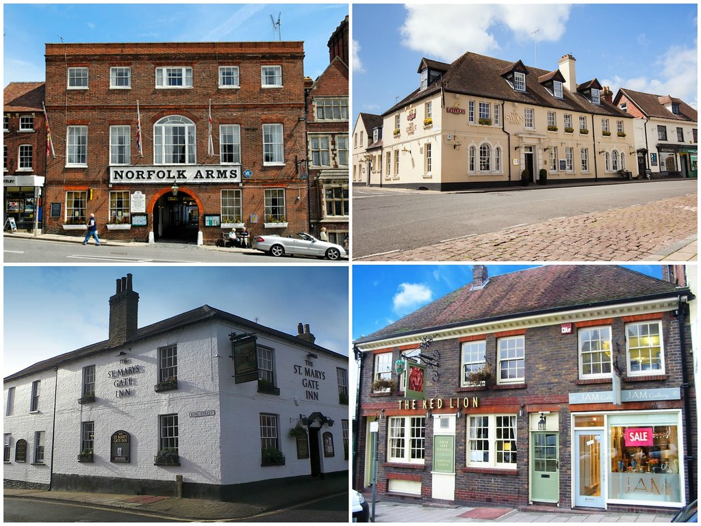 From top left clockwise. Norfolk Arms, The Swan Hotel, St Mary's Gate Inn, The Red Lion