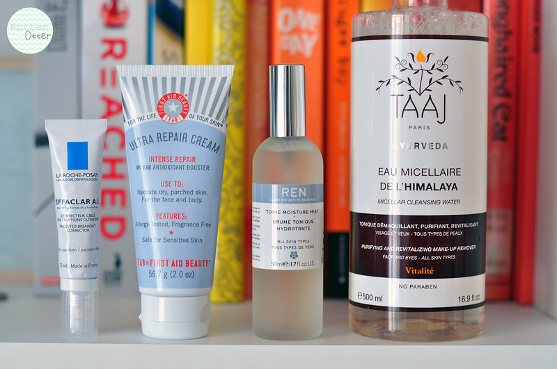 mini reviews 003 la roche posay effaclar ai first aid beauty ultra repair cream ren tonic moisture mist taaj micellar water rottenotter rotten otter blog
