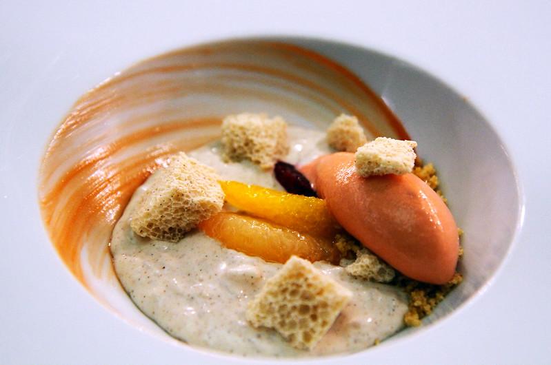 Cinnamon Rice Pudding, whipped cinnamon-chocolate, pistachio dragée, fresh raspberries, raspberry sorbet swirl