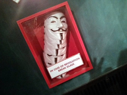 Guy Fawkes Mask box, Bar at the End of the World, Paris, France