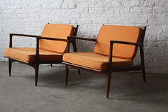 ***ON DECK*** Twin Turbo Pair of Ib Kofod Larsen Danish Modern Lounge Chairs for Selig (Denmark, 1960's)