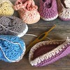New pretty colors, baby booties :) http://izabelamotyl.co.uk #crochet #baby #booties #summer