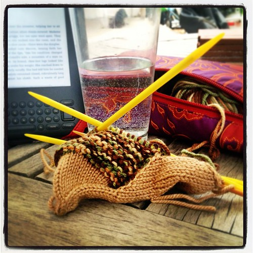Teenage Mutant Ninja Hedgehog(?) in progress, along with some _Changeless_ on the patio.