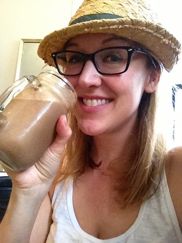 Laurel drinking a Cacao Energy Smoothie in NYC