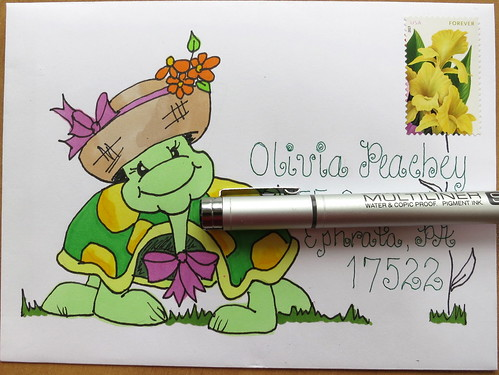 Mail art to a little turtle loving friend