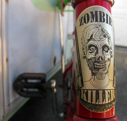artbywinona posted a photo:zombie killer bicycle head badge in brass