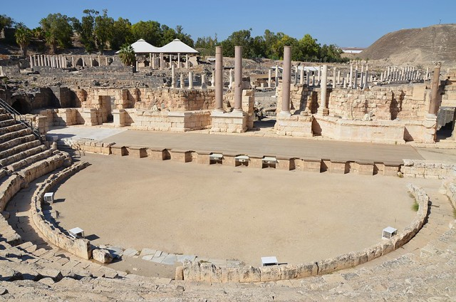 Roman theatre, built at the end of the 2nd century on the remains of a 1st century AD theatre, which could seat about 7,000 spectators, Scythopolis (Beth-She'an), Israel