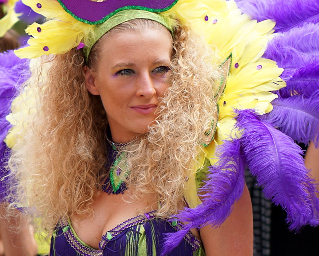 blond lady with feathers