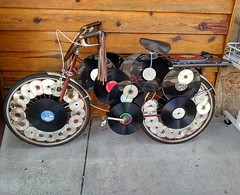 The bike for the music lover on the go. And yes, that's a turntable on the back.  #Florida #Bike #Music #Lover #CDs #Records #Turntable