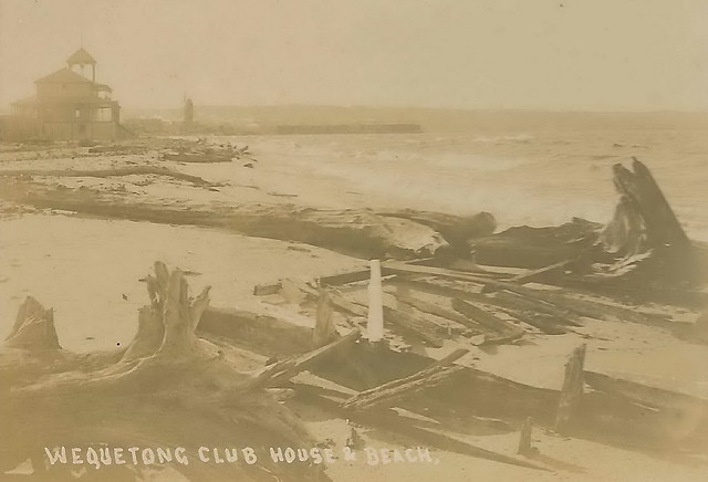 Traverse City MI Wequetong Club Stereoscopic Stereoview Circa 1910 Locally Famous Photographer Orson Peck on West bay at The Boardman River Mouth West View1