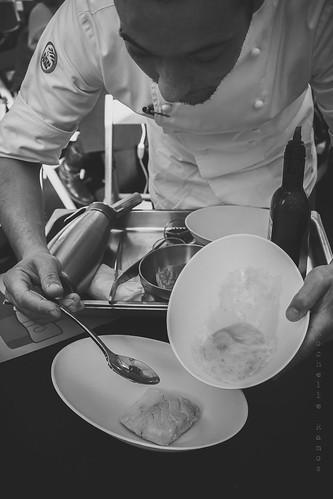 Lombos confitados, amêndoas e espuma de batata- Prep
