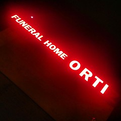 "Funeral Home Ortiz - the ""z"" silent & unseen... #williamsburg #brooklyn #streetphotography #neon #sign"