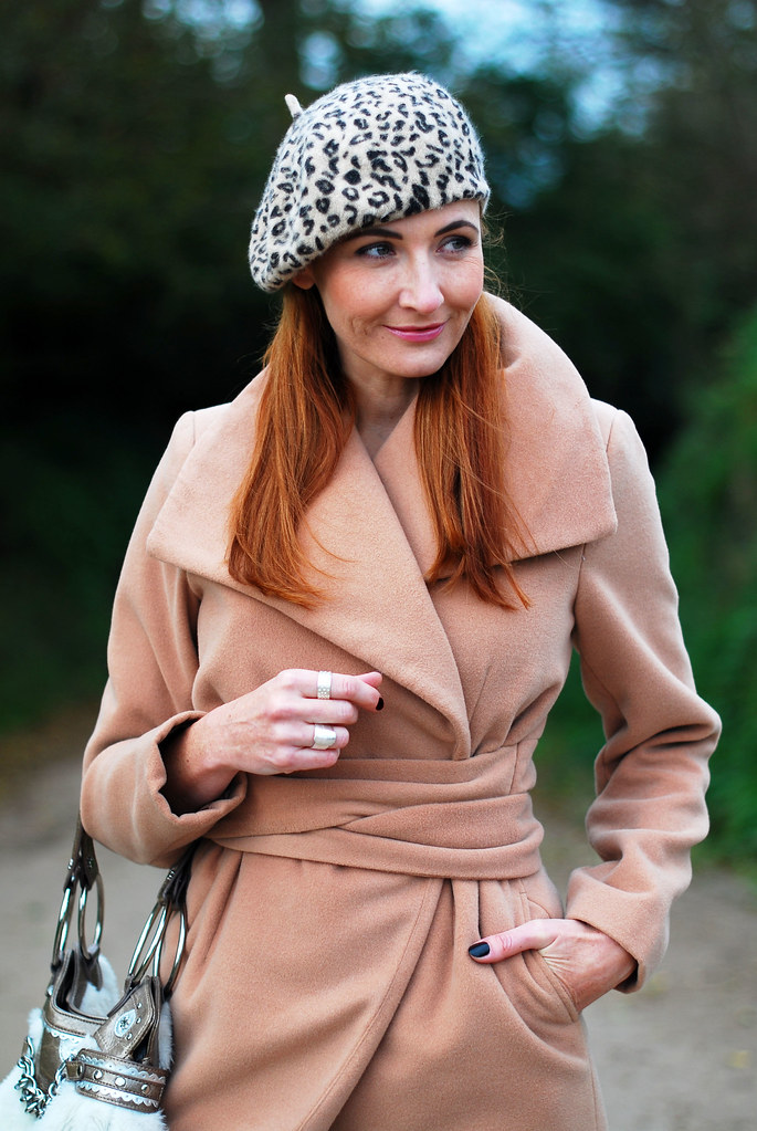 Camel coat and leopard print beret