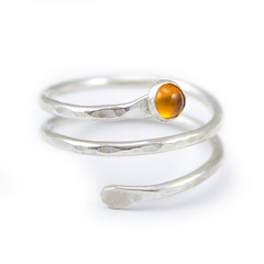 Twisted Ring with Bright Citrine