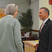 """Rep. Fred Camillo talks with constituents after a discussion at the senior center titled: """"When your home poses a risk"""" to help seniors make their homes safer."""