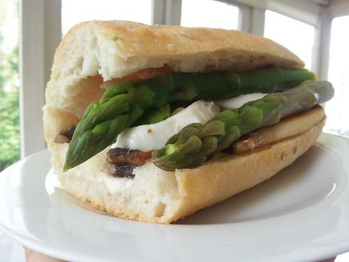 Mushroom asparagus mozzarella baguette sandwich