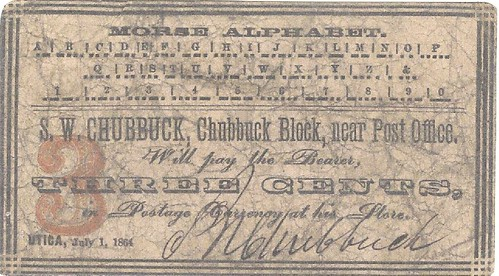 Chubbuck scrip note with Morse Code
