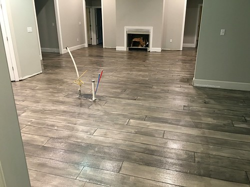 Fireplace with Concrete Wood Flooring - Atlanta GA