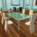 Modern Dining Table Set Dotted 3D Models