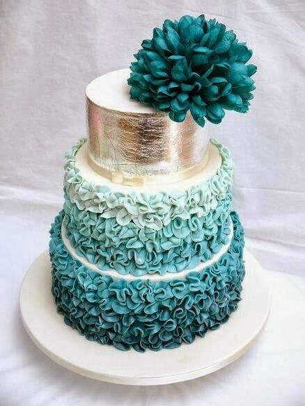 Dark Turquoise Wedding Cake from Maven Bride