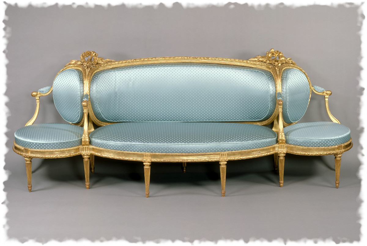1780 Sofa. French. Carved And Gilded Beechwood Upholstered In Modern Blue  Dotted Silk.