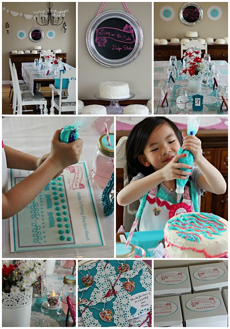 Cake decorating party collage