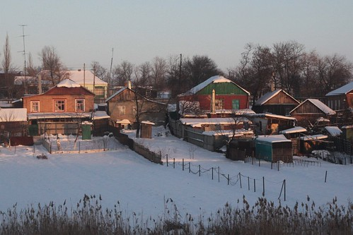 Evening falls over the Russian village of Рясное (Ryasnoj)