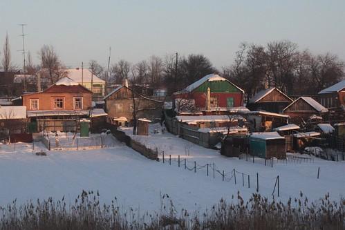 Evening falls over the Russian village of Рясное (Ryasnoj)