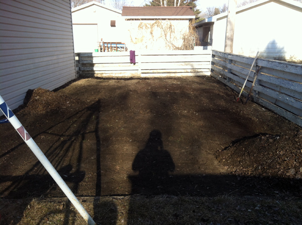 many hours later, the garden is ready for tilling