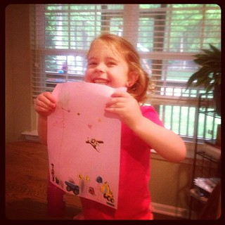 Showing me her brother's art #paper #fmsphotoaday #babysitting