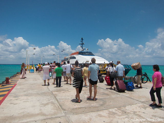 Boarding the ferry to Cozumel
