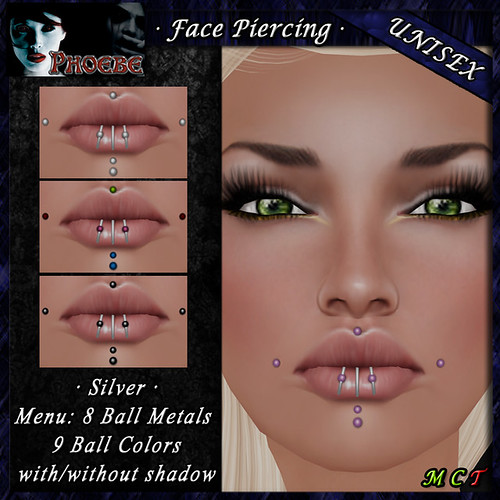 *P* Unisex Face Piercing M4 ~Silver~ Ball Metals-Colors