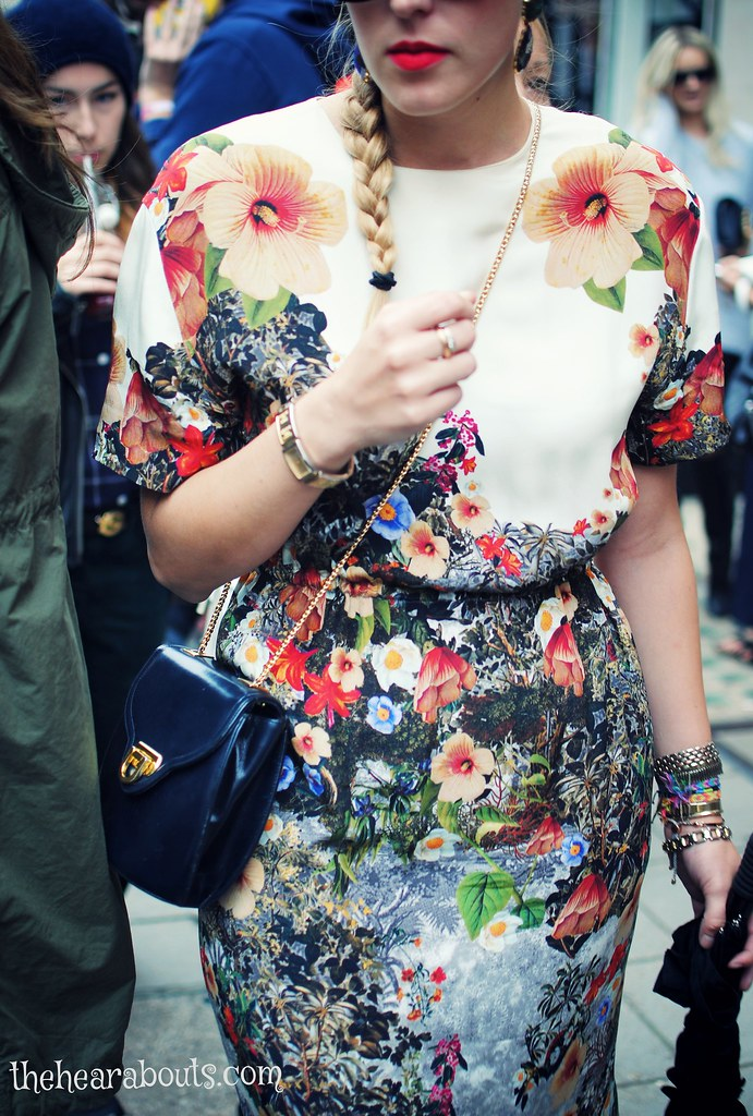 Floral dress lfw streetstyle