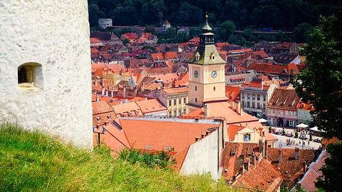 brasov romania town council old white tower roofs