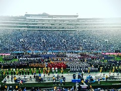The combines bands of both Stanford and UCLA'S marching band at halftime. #canon #canon_photos #johnkeraphotography #landscape #ucla #football #game #ncaa #college #marchingband #music #travel #photographer #photography #outside #outdoors #night #losangel