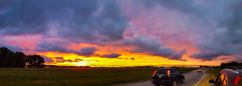 elkhart indiana samsung samsunggalaxys6 car cars clouds evening geotagged panorama panoramic road sky sunset vibrant unitedstates