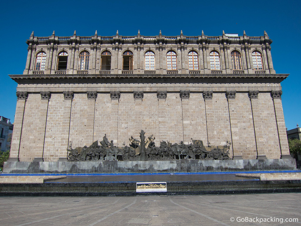 Behind the Teatro is a fountain and sculpture, which marks the site where Guadalajara was founded in February 1542