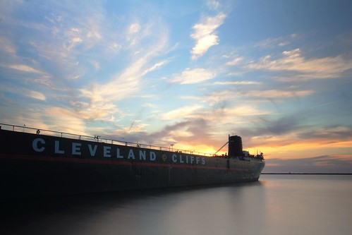 sunset ohio clouds ship lakeerie cleveland barge hdr clevelandcliffs williamgmather ohiofoothills