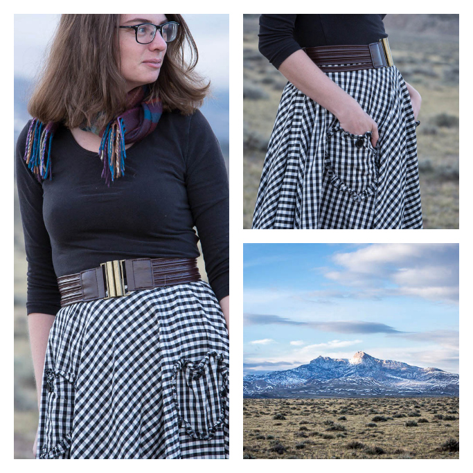 gingham skirt, modcloth, hell's bunny, scarf, winter, fall,heart mountain,