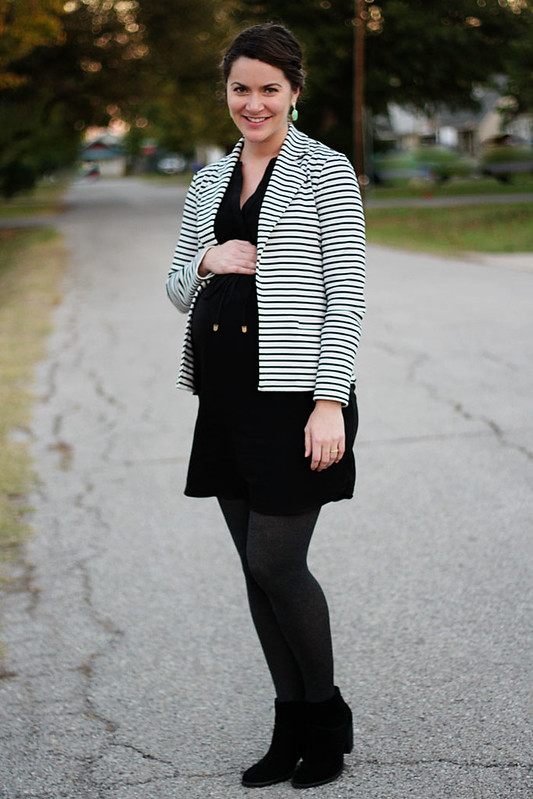 maternity-black-dress-striped-blazer-booties-2