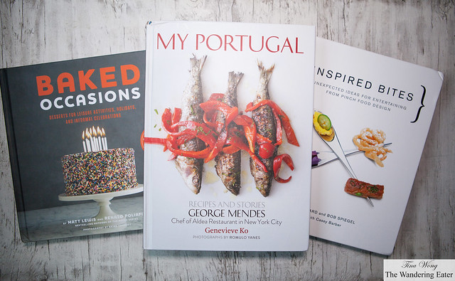 My new cookbooks to read: Baked Occasions by Matt Lewis & Renalto Poliafito, My Portugal by George Mendes, Inspired Bites by Bob Spiegel and TJ Girard