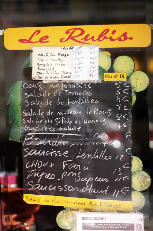Le Rubis menu
