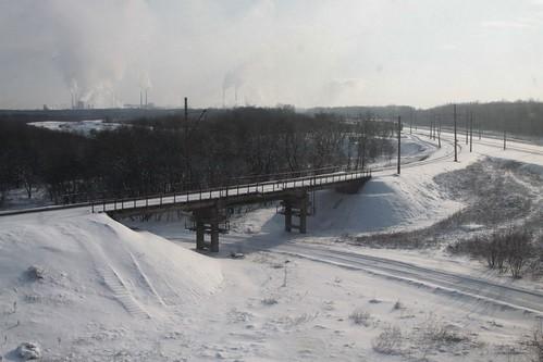 Railway junctions outside the Ukrainian city of Ясинувата (Yasynuvata)
