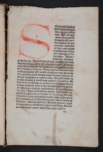 Rubricated initial in Albertus Magnus [pseudo-]: Secreta mulierum et virorum (cum commento)