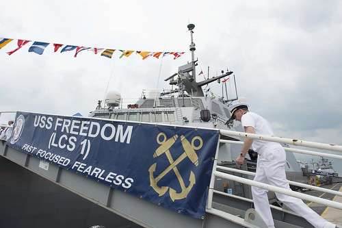 Chief of Naval Operations (CNO) Adm. Jonathan Greenert arrives for an all-hands call with Sailors aboard USS Freedom